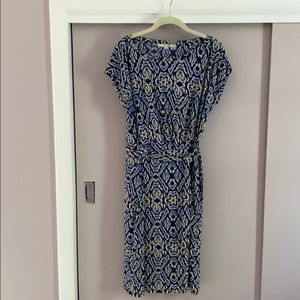 Boden Ikat Print Blue and Cream Dress sz 10 tall